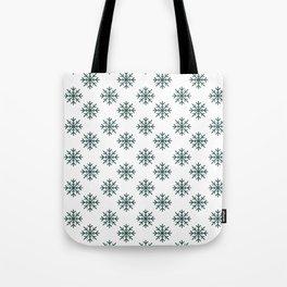 Snowflakes (Dark Green & White Pattern) Tote Bag
