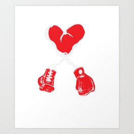 Boxing Boxer Valentines Day Heart Fight  Art Print