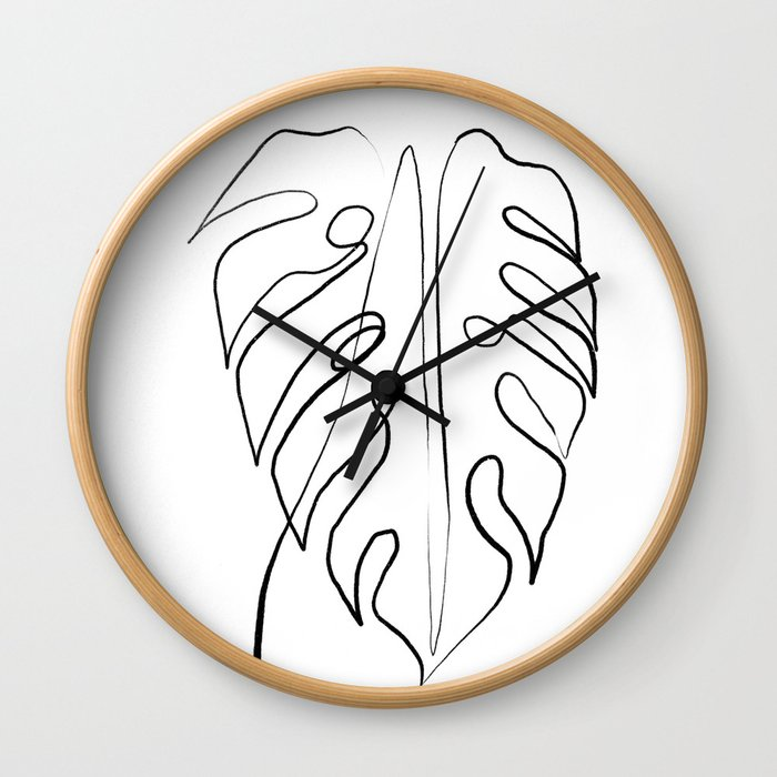 Palm Line Art Wall Clock