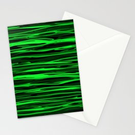 Lime Green and Black Stripes Stationery Cards
