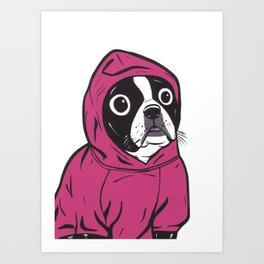 Pink Hoodie Boston Terrier Art Print
