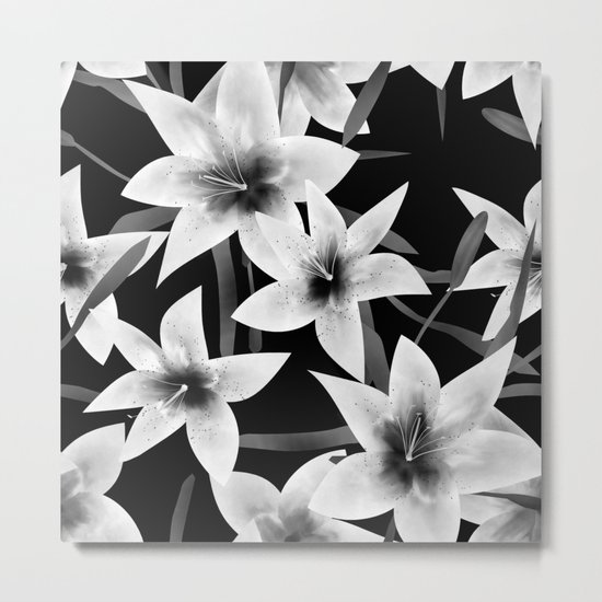 White lilies on a black background . Metal Print
