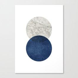Marble blue navy circle Canvas Print