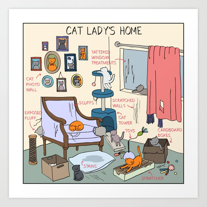 Cat Lady's Home Art Print