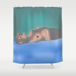 Hippos in a swamp Shower Curtain
