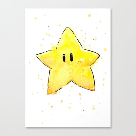 Invincibility Star Mario Watercolor Geek Gamer Art Canvas Print