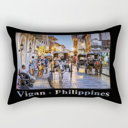 Rush Hour in Vigan City (on black) Rectangular Pillow