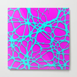 Hot Web pink, turquoise Metal Print