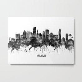Miami Florida Skyline BW Metal Print