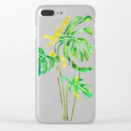 green and yellow leaf watercolor Clear iPhone Case