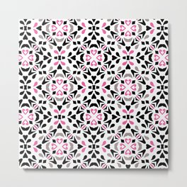 Black and Pink Tile Metal Print