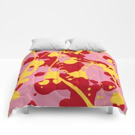 Paint Dance Pink Square Yellow Red on Black Comforters