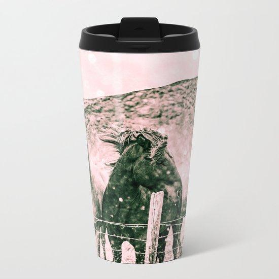 Southwest Horses Black and White Metal Travel Mug