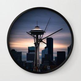 Space Needle Sunset - Seattle Nights Wall Clock