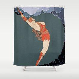 "Art Deco Illustration ""The Dancer"" Shower Curtain"