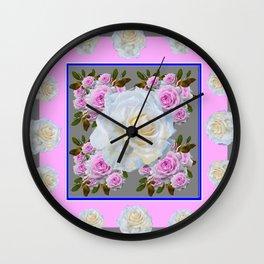 WHITE & PINK ROSE PATTERN GREY GARDEN ART Wall Clock