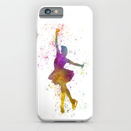 Woman ice skater in watercolor iPhone Case