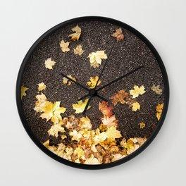 Gold yellow maple leaves autumn asphalt road Wall Clock