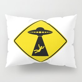 Alien Abduction Safety Warning Sign Pillow Sham