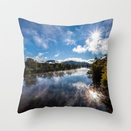 Morning Country River Throw Pillow