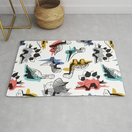 Geometric Dinos // non directional design white background multicoloured dinosaurs shadows Rug