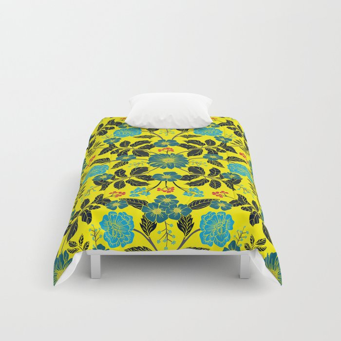 Bright Yellow, Red, Turquoise & Navy Blue Floral Pattern ...