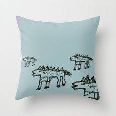Stickleback Dragon Dogs Out Hunting Throw Pillow