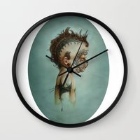 dick Wall Clocks featuring Dick by ashcloud