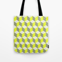 Diamond Repeating Pattern In Limelight Yellow Gray and White Tote Bag