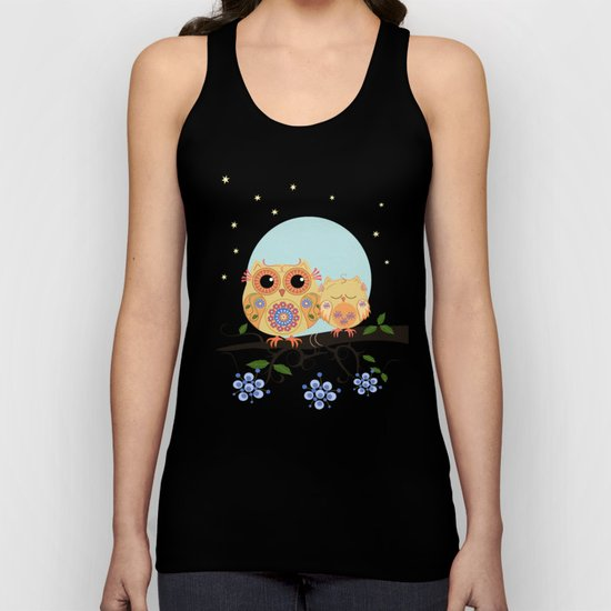 Colourful Flower power owl with her sleepy baby on branch Unisex Tank Top