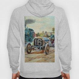 Vintage Cars Racing Scene,train painting Hoody