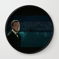 the great gatsby Wall Clocks featuring The Great Gatsby by Vito Fabrizio Brugnola