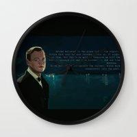 the great gatsby Wall Clocks featuring The Great Gatsby by Vito Fabrizio Brugnola