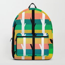 Colorful stripes and black and white tree trunks Backpack