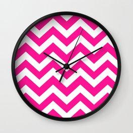 Deep pink - fuchsia color - Zigzag Chevron Pattern Wall Clock