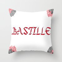 bastille Throw Pillows featuring bastille by Revital Krispin