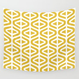Mid Century Modern Split Triangle Pattern Mustard Yellow Wall Tapestry