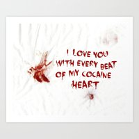 cocaine Art Prints featuring COCAINE LOVE by Beauty Killer Art