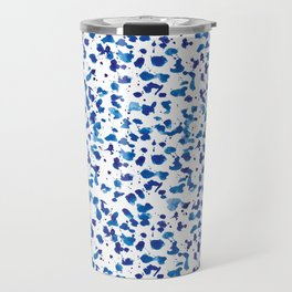 Blue Brush Stroke Watercolor Pattern Travel Mug