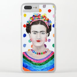 Polka Daub Frida Clear iPhone Case