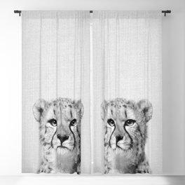 Cheetah - Black & White Blackout Curtain