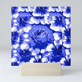 Roses Blue and White Toile #2 Mini Art Print