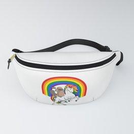 LGBT  Platypus Riding Unicorn Gay Pride Rainbow Fanny Pack