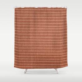 Boho, Minimal, Line Art, Stripes, Terracotta Shower Curtain
