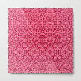 Pink and White Bandhani Bandhej Indian Textile Metal Print