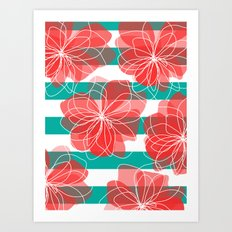 Camelia Coral and Turquoise Art Print