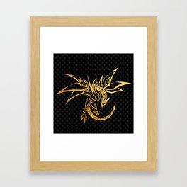 black pattern gold dragon skeleton Framed Art Print