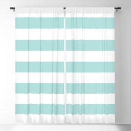 Aqua Blue and White Stripes Blackout Curtain