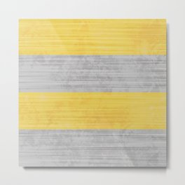Brush Stroke Stripes: Silver and Gold Metal Print