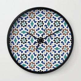 Geometric Pattern - Oriental Design Pt. 7x - seamless design ,blue, green Wall Clock